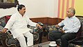 Ashok K. Kantha meeting the Minister of State for Culture (Independent Charge), Tourism (Independent Charge) and Civil Aviation, Dr. Mahesh Sharma, in New Delhi on August 11, 2015.jpg