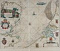 Atlas maritimus, or A book of charts - Describeing the sea coasts capes headlands sands shoals rocks and dangers the bayes roads harbors rivers and ports, in most of the knowne parts of the world. (14773302133).jpg