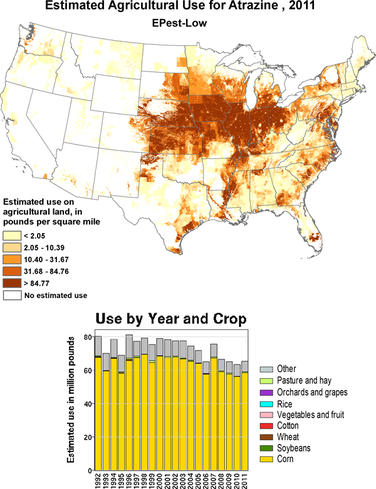 Atrazine Use In Pounds Per Square Mile By County Atrazine Is One Of The Most Commonly Used Herbicides In The United States