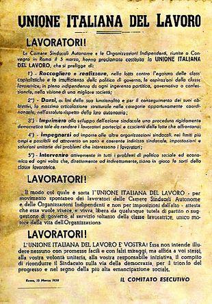 L'atto costitutivo della UIL del 5 marzo 1950 inclusivo dei cinque punti programmatici alla base del convegno costitutivo di Roma.