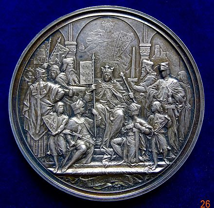 Silver medal by Scharff commemorating the 600th anniversary of the Habsburg Monarchy in 1882 (obverse) Augsburg, Silver Medal 600th Anniversary of 1282 Hoftag, obverse.jpg