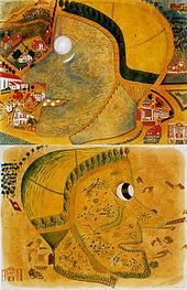 """Aus der Sammlung Prinzhorn: August Natterer (Neter): """"Hexenkopf"""" (Vorder- u. Rückseite), ca. 1915"""