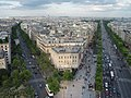 Avenue de Friedland and Champs-Élysées from the Arc de Triomphe, Paris 22 July 2010.jpg