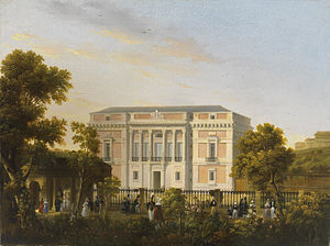 José María Avrial - The Museo del Prado, seen from the  Botanical Gardens