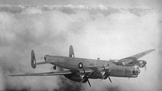 Avro Lincoln - Lincoln A73-20 during a test flight. Both starboard engines have their propeller blades feathered