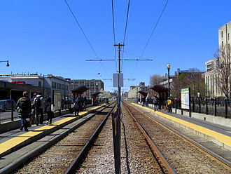 "Green Line ""B"" Branch - Boston University Central, one of the five handicapped-accessible surface stations on the line"