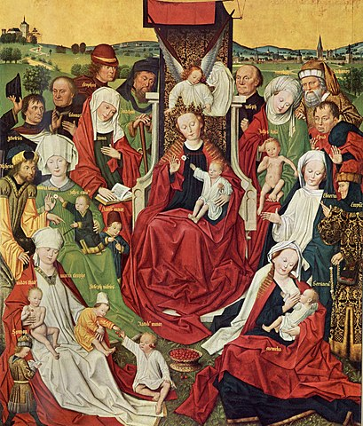 «Святая родня» — изображение семьи святой Анны с её многочисленными внуками. В центре расположена дева Мария, слева от неё Анна с книгой в руках, с тремя своими мужьями позади