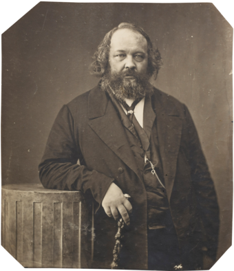 Anarchist Mikhail Bakunin opposed the Marxist aim of dictatorship of the proletariat in favour of universal rebellion and allied himself with the federalists in the First International before his expulsion by the Marxists Bakunin.png