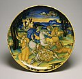 Baldassare Manara - Dish with Lion Hunt - Walters 481499.jpg
