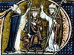 בלדווין הראשון בטקס הכתרתו, באיור לספר היסטוריה מן המאה ה-13