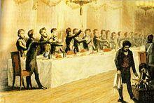 gravure en couleur d'un banquet maçonnique