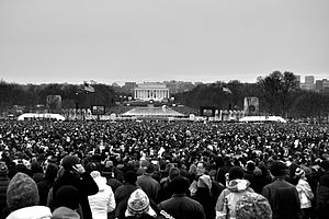 We Are One: The Obama Inaugural Celebration at the Lincoln Memorial - An estimated 400,000 people attended the event.
