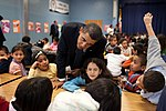Barack Obama talks with third and fourth grade students, 2009