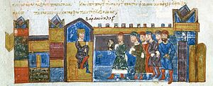 Bardas Skleros - Proclamation of Skleros as Emperor, miniature from the Madrid Skylitzes