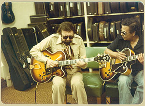 Barney Kessel - Kessel playing a Guild guitar.