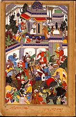 Akbar visits the tomb of Khwajah Mu'in ad-Din Chishti at Ajmer