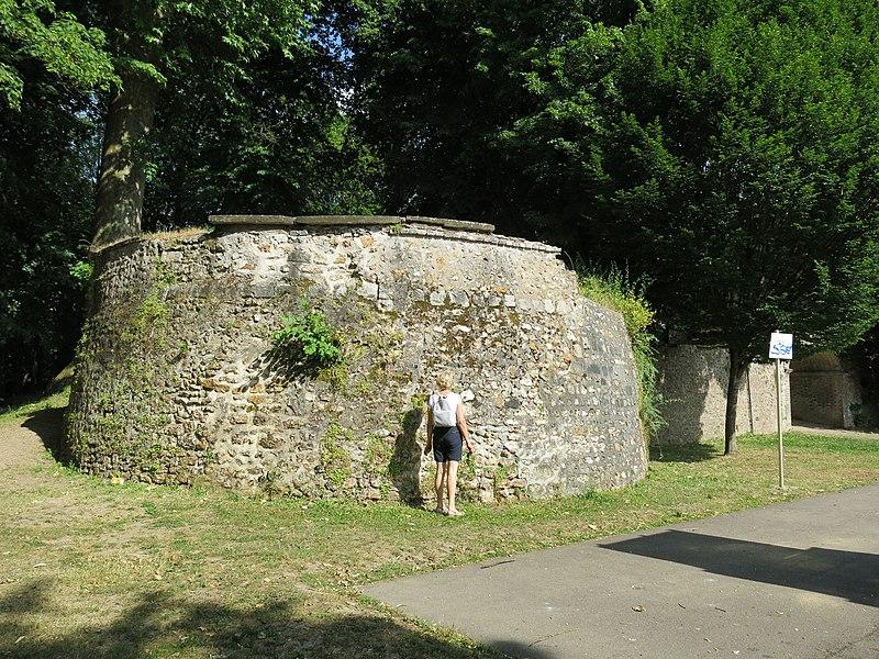 Base of tower preserved in Villeneuve-sur-Yonne (Yonne, France).