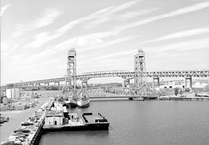 Girard Point Bridge - Girard Point Bridge and Basin Bridge in foreground (1995)