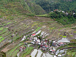 Terraced fields and two small villages among the terraces.