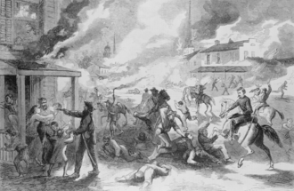 Lawrence massacre - An artist's depiction of the destruction of the U.S. city of Lawrence, Kansas, and the massacre of its inhabitants by Confederate guerrillas on August 21, 1863.