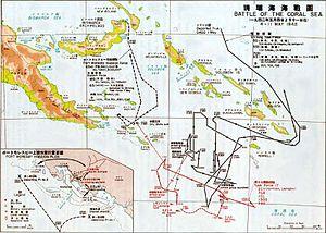 Карта, показывающая передвижение сил вторжения в Порт-Морсби и план их высадки в Порт-Морсби