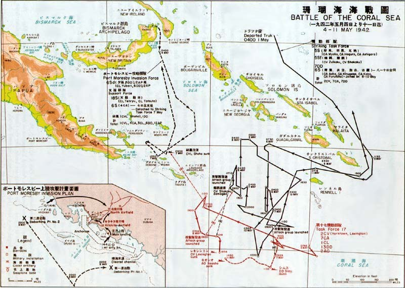 Map showing the movements of the Port Moresby invasion force, and the plan for the force's landing at Port Moresby