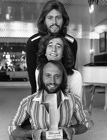The Bee Gees had several disco hits on the soundtrack to Saturday Night Fever in 1977. Bee Gees 1977.JPG