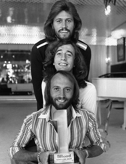 The Bee Gees had several disco hits on the soundtrack to Saturday Night Fever in 1977 Bee Gees 1977.JPG