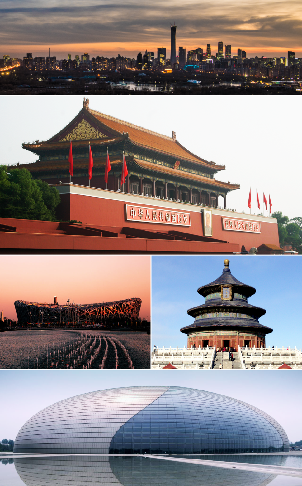 Clockwise from top: Beijing CBD skyline, Tiananmen, Temple of Heaven, National Center for the Performing Arts, and Beijing National Stadium
