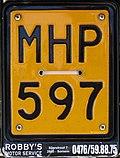 Belgian motorcycle plate 1965-2010 MHP-597.jpg