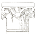 Belmont Abbey Chapter House Capital 4 Camille Enlart 1921.png