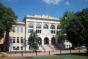 Benton County Courthouse (Bentonville, Arkansas) - The Benton County Courthouse anchors the east side of the Bentonville square