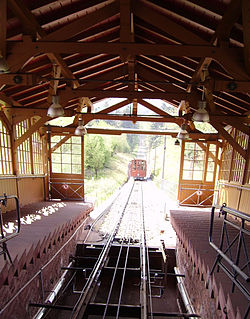 Heidelberger Bergbahn two section funicular railway in the city of Heidelberg, Germany