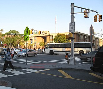 Bergen Square - Looking northeast, toward PS 11, at the longest continuously used school site in the United States