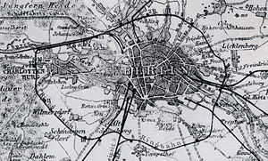 Wilhelmine Ring (Berlin) - The railway line around Berlin on a 1885 map. The dark area at center right is the developed part of the city, which was long constricted by the customs wall
