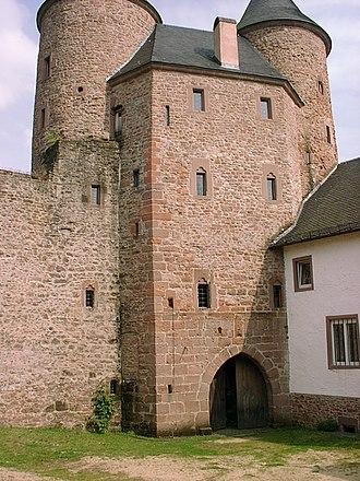 Bertrada of Prüm - Rear of the towers of the Bertradaburg in Mürlenbach, Germany