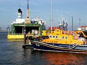 Big Ro-Ro Ferry Estraden, Arun class lifeboat, container cranes, Harwich, Essex, UK -b.jpg