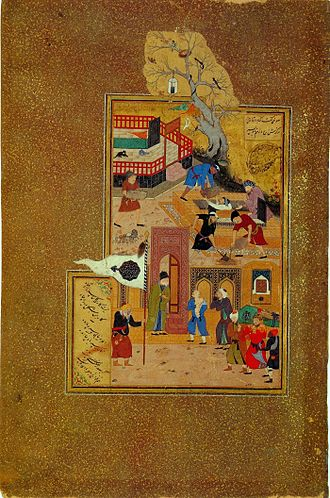 Attar of Nishapur - A miniature painting by Bihzad illustrating the funeral of the elderly Attar of Nishapur after he was held captive and killed by a Mongol invader.