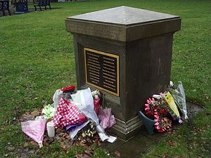 Birmingham pub bombings - The memorial plaque to the 21 victims of the Birmingham pub bombs within the grounds of Saint Philip's Cathedral