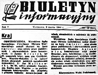 "Kedyw - Biuletyn Informacyjny from March 9, 1943, informing about the execution of the death penalty for ""killing two citizens of Polish Jewish nationality"" by Kedyw."