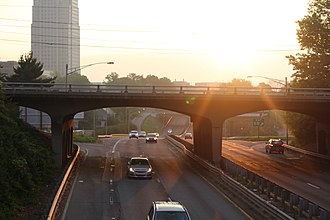 Interstate 40 Business (North Carolina) - Sunrise over Broad Street bridge