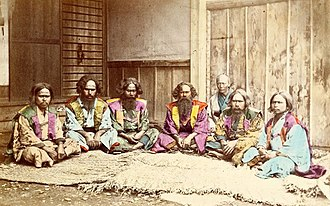Ainu people - A group of Ainu people, c. 1870