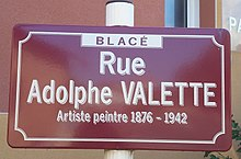 Plaque de rue honorant Pierre Adolphe Valette