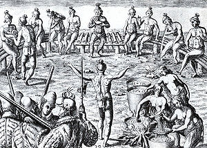 Northern Utina - 16th-century engraving by Jacques le Moyne of the Black drink ceremony among the Timucua of Florida