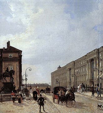 Louis George - The Berlin Lange Bruecke with city palace and a row of houses (left-hand side) with the workshops of Louis George
