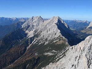 Mieming Range - The Hochplattig (2768 m) and Hochwand (2719 m) from the Hohe Munde