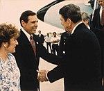 Bob Martinez shaking hands with Ronald Reagan.jpg