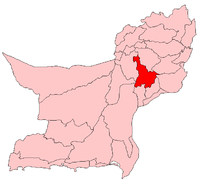 Map of Balochistan with Kacchi District highlighted