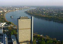 Langer Eugen, centre of the UN Campus at the River Rhine in Bonn (view from the Post Tower).