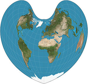 Bonne projection - Bonne projection of the world, standard parallel at 45°N.